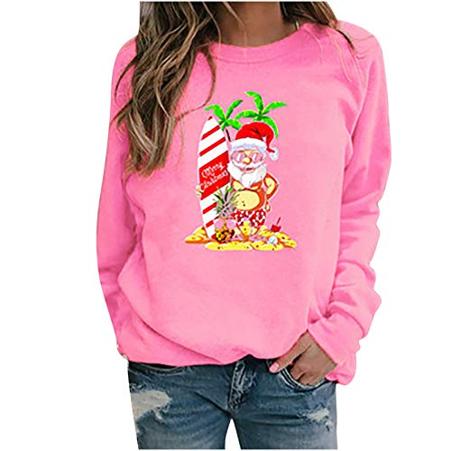 Wenese 2020 Weihnachtspullover Damen Modedruck Rundhals-Pullover Weihnachten Langarm...