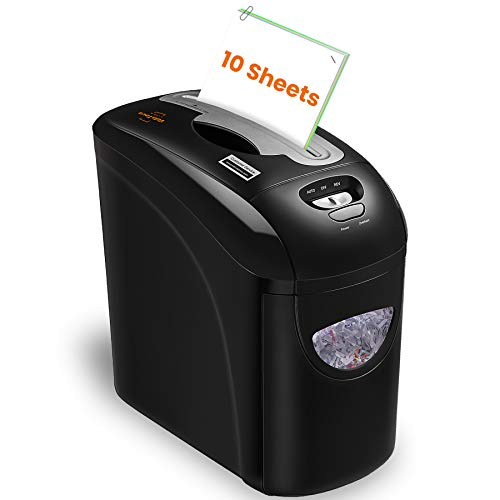VidaTeco Small Paper Shredder, 10-Sheet Micro Cut Shredder with US Patented Cutter, Higher Security P-4, Card/Paper Shredder for Home Office with Jam Proof System, 2.65-Gallon Pull Out Basket(ETL)