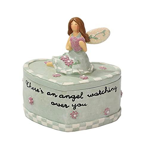Organizador de almacenamiento, caja de almacenamiento de joyas de ángel lindo pequeño organizador de almacenamiento pendiente contenedor de monedas regalo del día de la madre para mujeres niñas-verde