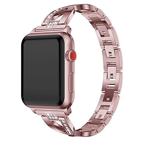 Correas de metal compatibles con la correa de reloj de Apple 40 mm 38 mm 44 mm 42 mm, pulsera de acero inoxidable Hermosa mujer niña Banda compatible con iWatch Series SE 6 5 4 3 2 1,42mm/44mm