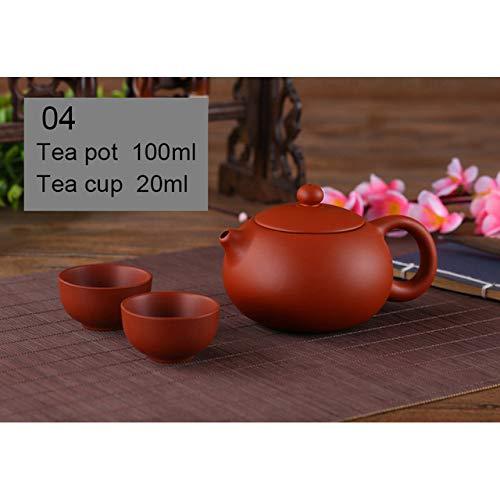 QCCOKNN Juego de té pequeño de Arcilla Morada Que Incluye 1 Olla, 2 Tazas, Taza de té de cerámica Zisha