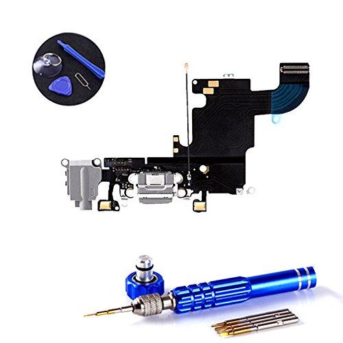 PPdigi Dock Connector für iPhone 6S USB Ladebuchse Audio buchse Mikrofon mit Werkzeugset (Passen iPhone 6S, Space Grau)