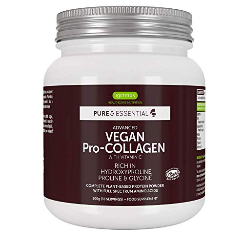 Pure & Essential Vegan Collagen Peptide Protein Powder with Glycine, Proline & Hydroxyproline & Vitamin C, Complete Collagen Boosting Formula, 35 Servings