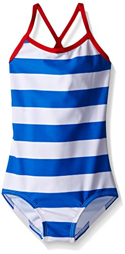 Kanu Surf Girls' Big Beach Sport Banded 1 Piece Swimsuit, Layla Blue Stripe, 10