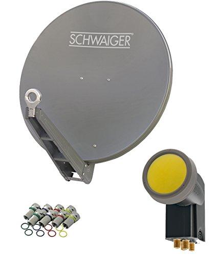 SCHWAIGER -4630- Sat Anlage, Satellitenschüssel mit Quad LNB (digital) & 8 F-Steckern 7 mm, Sat Antenne aus Aluminium, Anthrazit, 75 x 80 cm