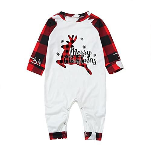 Conjunto de Pijamas Navideños Familiares a Juego a Cuadros Reno Impreso para Hombre Mujer Niños Niña Bebe 2 Piezas Tops Camiseta y Pantalones Invierno Manga Larga Regalo Camisón Casual Homewear