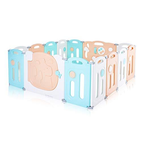 Baby Vivo Box Bambini Recinto Cancelletto Pieghevole Sicurezza Barriera Giochi Protezione 14 Elementi in Arancio, bianco e turchese - Kory