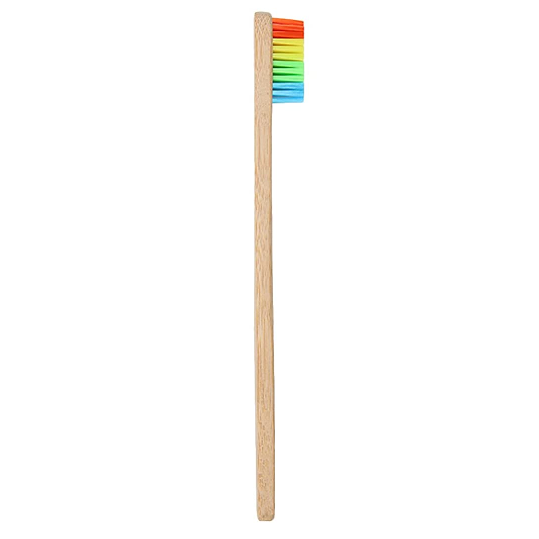 最少有害慣性Goshang 歯ブラシ 超極細毛 ソフト 虹色 バンブー製 環境保護