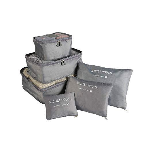 Sac de rangement de voyage petite version 6 pièces en tissu Oxford sac de rangement de voyage imperméable polyester sac de rangement de bagages de voyage sac de rangement, gris (Gris) - ONPAE-97078