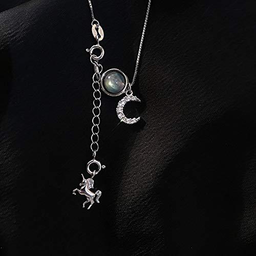 BJGCWY Collar de Piedra Natural con Colgante de Caballo Mecedora de Plata de Ley 925 para Mujer,...