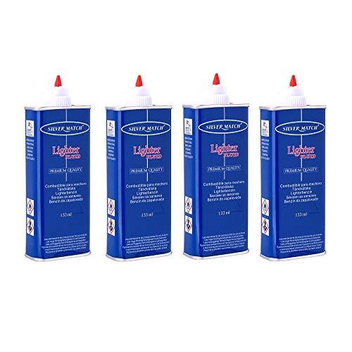 4x 133ml SILVER MATCH Universal Feuerzeugbenzin für Sturmfeuerzeug, Benzinfeuerzeug, Waschbenzin, Benzin für Feuerzeug
