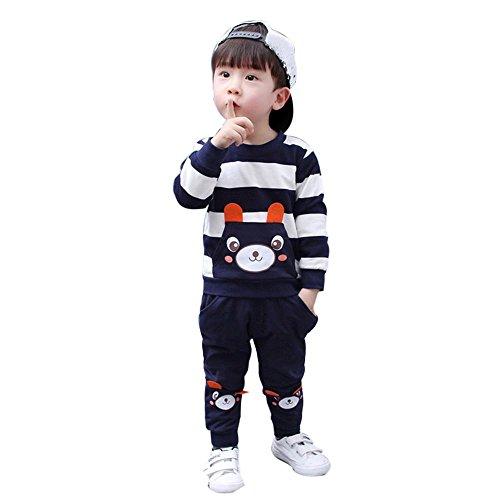 Kinderkleidung Longra Herbst Winter Kinder Baby Mädchen Junge Kleider Set Striped Bear Tops + Hosen Outfits Kleidung-Anzüge(2-5Jahre) (110CM 4 Jahre, Navy)