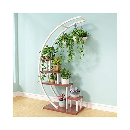 AF DE Blumenständer Indoor Wohnzimmer Hause mehrschichtige schmiedeeisen blumentopf Rack Pflanze Rahmen mehrfarbige dekorative grüner Salbei hängen Orchidee Regal (halbrund) (Color : Teak)