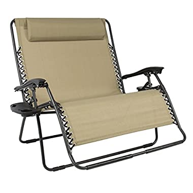 Best Choice Products Folding 2 Person Oversized Zero Gravity Lounge Chair W/2 Accessory Trays Outdoor Patio Beach