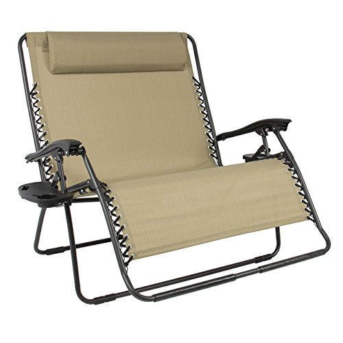Best Choice Products 2-Person Double Wide Folding Mesh Zero Gravity Chair w/Cup...