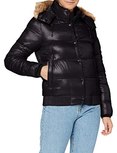 Superdry Womens HIGH Shine Toya Bomber Jacket, Black, M (Herstellergröße:12)