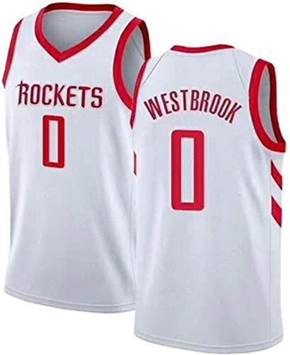 BPZ Camiseta de Baloncesto de la NBA para Hombre - NBA Russell Westbrook 0# Camisetas de Baloncesto de Houston Rockets - Camiseta Deportiva sin Mangas Transpirable de Ocio,1,L (175~180CM / 75~85KG)