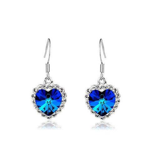 Klaritta Dark Ohrringe Design Herz des Ozeans Blau Kristall E244