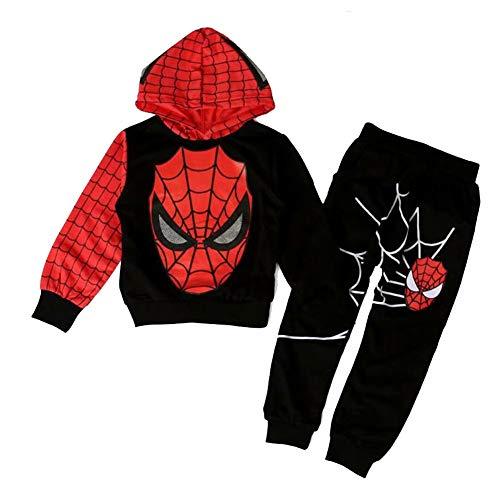 AEIL Jungen Casual Trainingsanzug Hoodies Kinder 2 Stück Outfit Spiderman Cosplay Set Langarm Sport Anzug Kleidung Overall