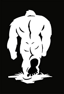 Chase Grace Studio Sasquatch Big Foot Vinyl Decal Sticker|White|Cars Trucks Vans SUV Laptops Wall Art|7.75