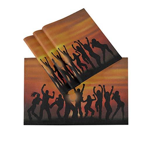 DUKAI Tischsets 4er Set, wärmeisolierende waschbare Tischsets, Gruppe Happy Active People Silhouetten und Sunset Vector 18 x 12 Zoll Küchentischmatten Tischset für Esstisch
