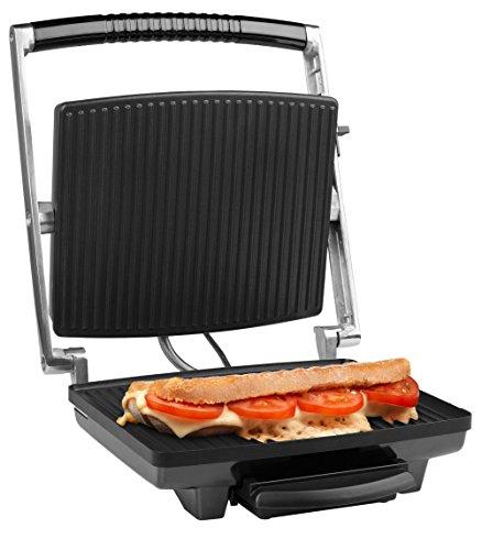 Medion MD 16832 contact-/panini grill (1.800 watt, anti-aanbaklaag, temperatuurregeling, olieopvangbak, bescherming tegen oververhitting) zilver-zwart