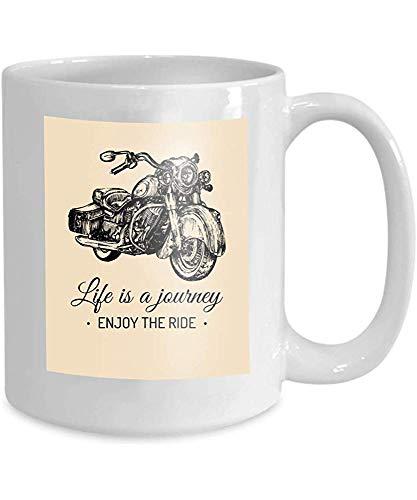 Mok Koffie Thee Cup Leven Reis Geniet Ride Inspirationele Poster Hand getrokken Retro Bike mc Label Aangepaste Chopper Store Vintage 110z