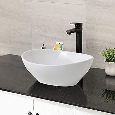 "Oval Vessle Sink - Mocoloo 16"" x 13"" Inch Bowl Sink Countertop Egg Shape Small Bathroom Sink White Porcelain Ceramic vanity Bowl, Above Counter Modern Art Bsin."
