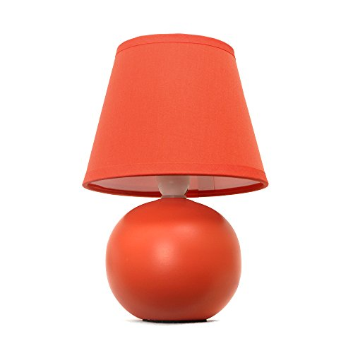 "Simple Designs Home LT2008-ORG Mini Ceramic Globe Table Lamp, 5.51"" x 5.51"" x 8.66"", Orange"