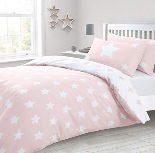 Velosso Blue Grey Stars Reversible Bedding Set/Quilt cover and Pillowcase Set (Blush Pink, King Size)