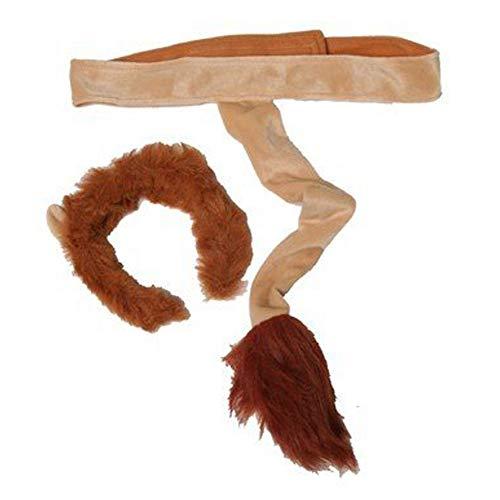 Kids Plush Lion Headband Ears & Tail Jungle Safari Dressup Costume Set