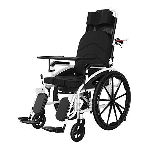 PLBB3K Silla de Ruedas Manual, Respaldo Alto, Plegable Ligero, Anciano con Inodoro, reclinación Completo, Scooter discapacitado-Negro (Color : Black) ✅