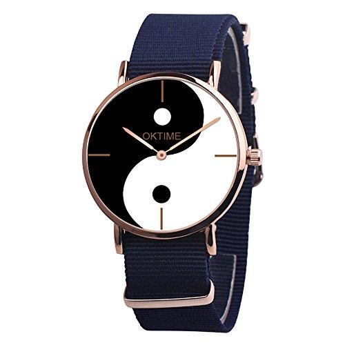Damen Uhren Leinwand Armband Yin und Yang Klatsch Muster Analoge Quarzzeiger Edelstahl Zifferblatt Skalenlose Uhr Modische Casual Rund Watch Klassisch Geschenkuhr Sportuhr für Outdoor Smart Watch