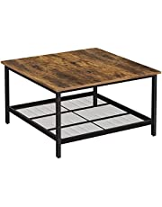 VASAGLE stolik kawowy, stalowy stolik kawowy, z półką z siatki, kwadratowy, wzornictwo przemysłowe, do salonu, vintage brązowo-czarny LCT065B01