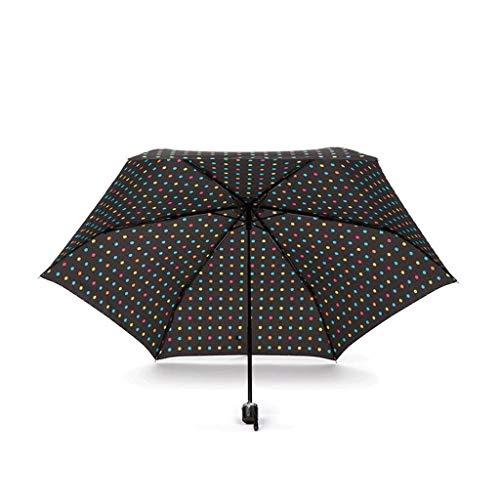 LYMUP Paraguas Mujer Moda Pequeño Color Fresco Tres Pliegue Sombrilla Sol