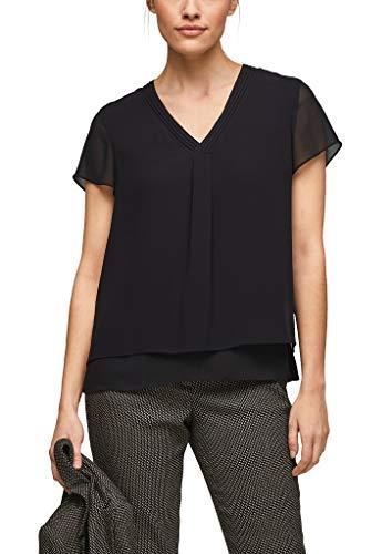 s.Oliver BLACK LABEL Damen Layering-Bluse aus Chiffon black 42
