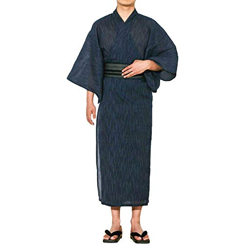 Traditioneller japanischer Kimono-Bademantel für Herren, langärmelig, Spa-Bademantel, leicht zu tragen, Yukata-Nachtwäsche, Nachthemd, Unisex, OBI Gürtel-Set - - Einheitsgröße