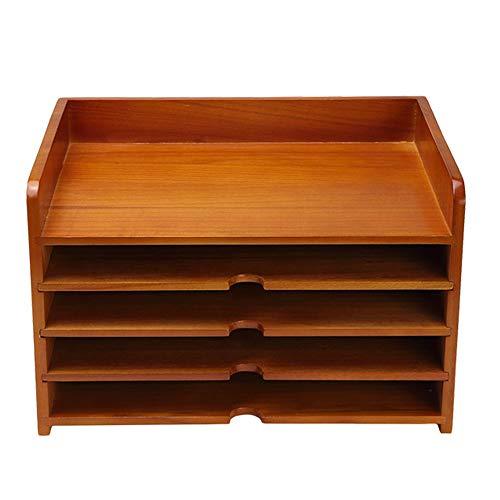Mail Sorter, Aktentablett aus Holz mit Vier Unterteilungen, Schreibtisch-Organizer, Papierstapel-Tabletts, für A4-Office-Papierstudie, Farbe Naturholz