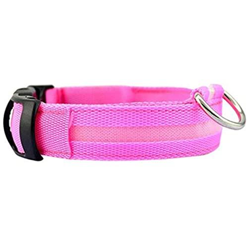 YXDS Suministros para Mascotas Collar de Perro con luz LED Seguridad Nocturna para Mascotas Brillante Intermitente Correa de Nailon Ajustable Perros Collares Fluorescentes