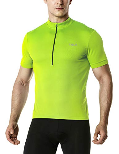 TSLA Men's Short Sleeve Bike Cycling Jersey, Quick Dry Breathable Reflective Biking Shirts with 3 Rear Pockets, Cycle Short Sleeve(mct01) - Neon Yellow, XX-Large
