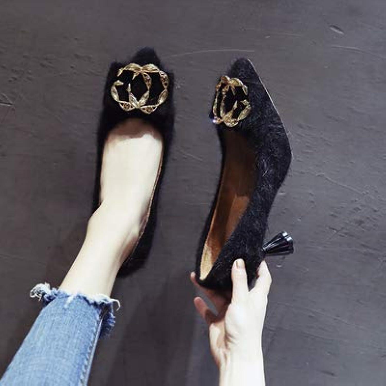 HRCxue Pumps Frauen hohe Ferse Schnalle High Heels Plus samt warme Mitte Ferse Spitze Schuhe 5cm, 38, schwarz    Ausgezeichnetes Preis