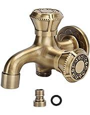 G1 / 2 dubbele waterkraan, antiek messing warm- en koudwaterkraan, voor wandgemonteerde badkamer keuken