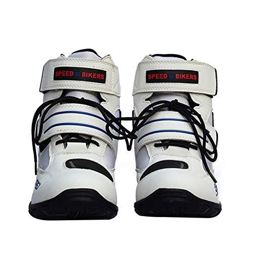 JYY Botas de Moto de Carretera Botines Cortos Deportivos para Caminar por la Ciudad Botas de Motocross para Hombres Niños Rider,White-EU43
