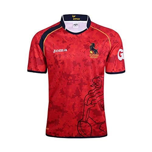 JUNBABY Camiseta De Rugby Español 2019,Camiseta De FúTbol Equipo Nacional España Hombre Camisa De Atleta-Red-L