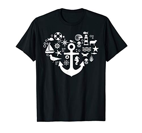 Norddeutsches Herz Outfit Geschenk Anker Hafen Küste Meer T-Shirt