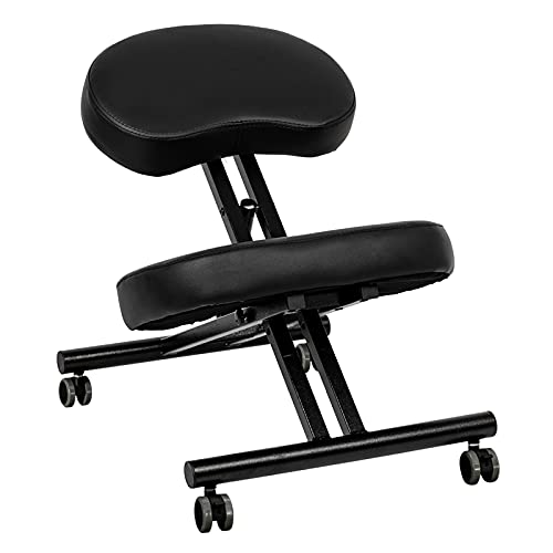OMECAL Ergonomic Kneeling Chair for Improve Posture, Neck & Back Pain Relief Thick Comfortable Cushions, Angled Seat, Lockable Casters & 3 Adjustable Height Stool for Home and Office