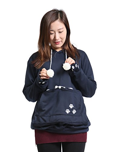 SAIANKE Womens Hoodies Pet Holder Cat Dog Kangaroo Pouch Carriers Pullover, Navy, Medium
