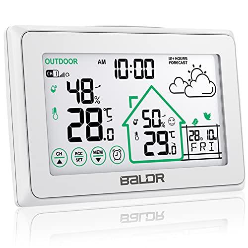 BALDR Wetterstation Funk mit Außensensor, Digital DCF-Funkuhr Innen und Außen Thermometer Hygrometer mit LCD Touchscreen, Wettervorhersage, Komfortanzeige und Hintergrundbeleuchtung, Weiß