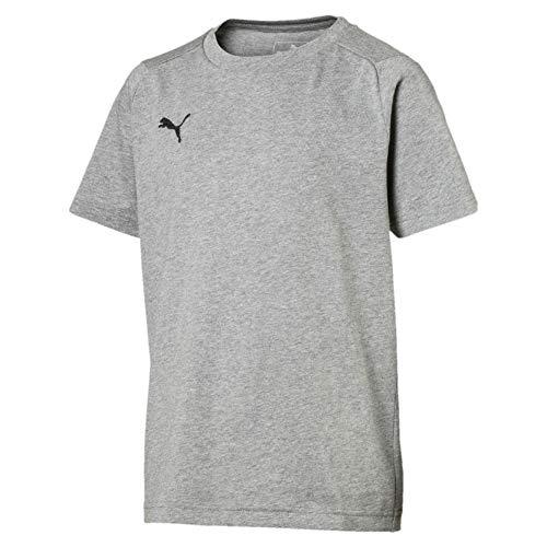 Puma Kinder LIGA Casuals Tee Jr T-shirt, Medium Gray Heather Black, 164