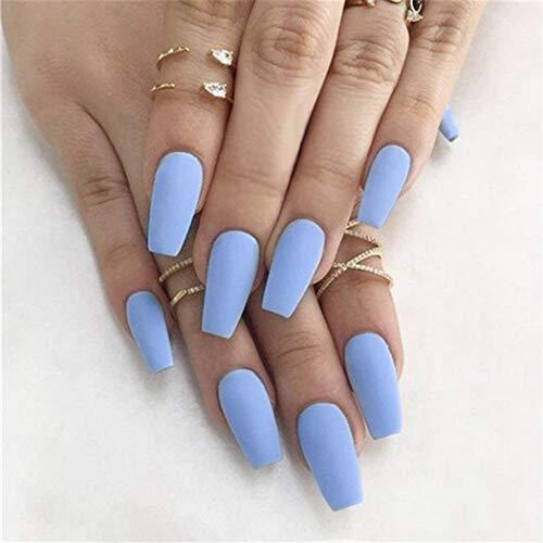 Yean Matte Sargnägel Drücken Sie auf die Nägel Ballerina Falsche Nägel Blau Vollständige gefälschte Nagelspitzen für Frauen